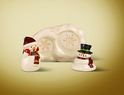 Melting Snowman S&P w/Holder,445198