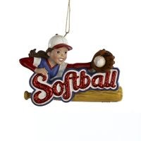 Resin Girl Softball Ornament,C8236