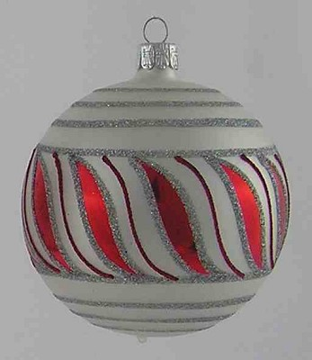 Matte White and  Red Stripes Ball,BM722