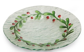 Holly Glass Plate Handpainted 2 Assortment,3GR1674