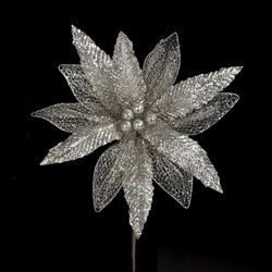 "Platinum Glitter Poinsettia Pick - 12"",C5137"