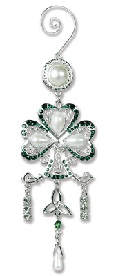 Jeweled Shamrock Ornament,7122