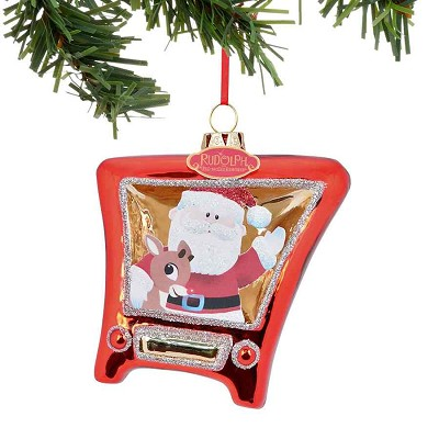 Santa & Rudy TV Ornament,4040604