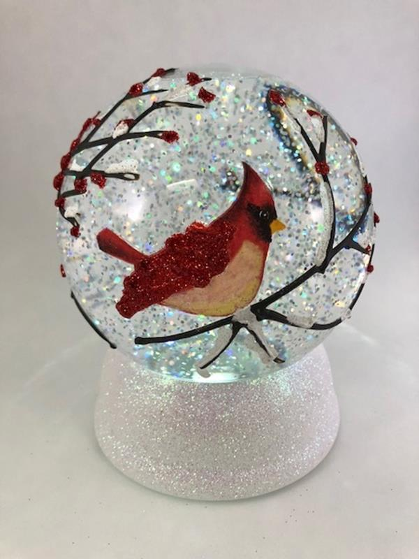 Painted Cardinal Water Globe,131378
