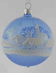 Blue Translucent with Country Scene Ball,BM294